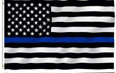 送料無料ブルーライン米国警察フラグ、90*150センチ薄いブルーライン米国旗黒、白と青ライン旗でグロメット