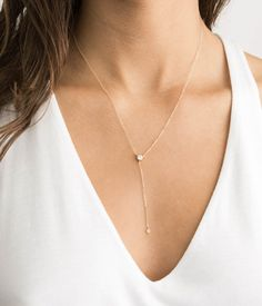 Gold Y Necklace Diamond, Dainty Lariat Necklace with CZ, Dainty Gift for her, Minimal Lariat 14K Gold Filled or Sterling Silver Chain, LN809
