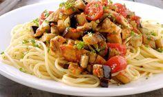 Bekijk het recept voor Spaghetti met kip en aubergine