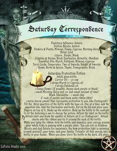 Saturday Correspondence Spell Page - LaPulia Book of Shadows Wicca Witchcraft, Magick Spells, Green Witchcraft, Wiccan Witch, Reiki, Pagan Calendar, Eclectic Witch, Witchcraft Supplies, Protection Spells