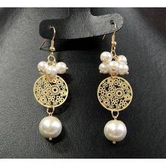 Aretes de Moda con Chapa de Oro y Perla