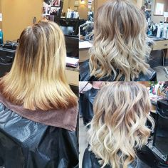 blonde ombre - created by adding a full head of baby lights and then balayage the ends that were left out, toned at the roots and midlengths in the sink with dark blonde then blended the ends into an ice blonde.
