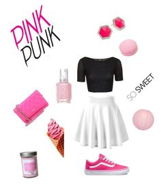 """Pinky "" by lialicious on Polyvore featuring Topshop, ABS by Allen Schwartz, Vans, Essie, Ladurée, Lime Crime, Cultural Intrigue and Illume"