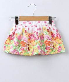 Take a look at this Pink & Orange Floral Skirt - Infant, Toddler & Girls by Beebay on #zulily today!