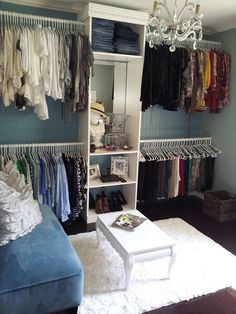 Love my spare room turn into a closet space. Home decor by Petals & Rust in Kansas City. Lets us transfor Love my spare room turn into a closet space. Home decor by Petals & Rust in Kansas City. Lets us transform your space. Bedroom Turned Closet, Spare Room Closet, Spare Bedroom Closets, My Spare Room, Closet Space, Wardrobe Closet, Diy Spare Room Ideas, Spare Room Storage Ideas, Closet Rooms