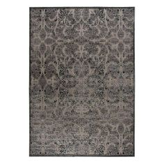 Stylishly anchor your living room or master suite with this artfully crafted rug, showcasing a damask-inspired motif in gray.  Produ...