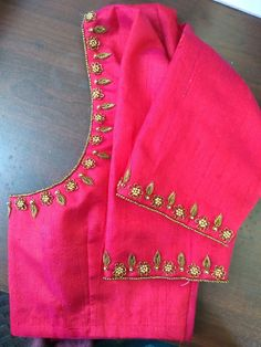 Sardoshi and beats combination# simple work in pink blouse Handmade Embroidery Designs, Embroidery Neck Designs, Indian Embroidery, Aari Embroidery, Embroidery Fashion, Cutwork Blouse Designs, Simple Blouse Designs, Blouse Simple, Simple Designs