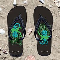 Triathlon Tri Believe Swirl Flip Flops - Kick back after a triathlon with these great flip flops! Fun and functional flip flops for all triathletes.