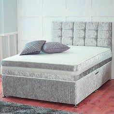 #Crushed #velvet divan bed with under bed storage + orthopedic #mattress all size,  View more on the LINK: http://www.zeppy.io/product/gb/2/232029960580/