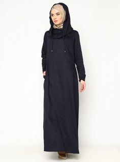 Hooded Dress - Navy Blue - CML Collection