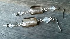 Crystal and Foil Bead Grey-Toned Earrings by NickiandBrox on Etsy