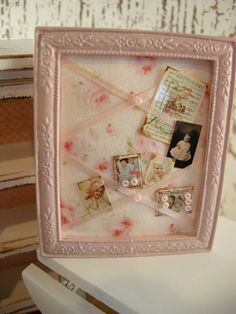 DOLLHOUSE shabby chic bulletin board <3 Shabby Chic Cottage Pink Roses Shabby Chic Baby Nursery <3