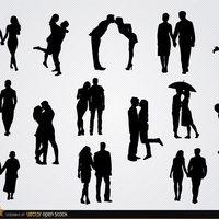 Casais apaixonados silhuetas definido