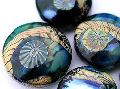 Dark Teal green Lampwork glass beads  handmade tabs by MayaHoney  #mayahoney #glass #bead #lampwork #handmade #jewelry