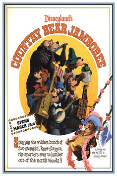 "gameraboy: "" Ad for the opening of the new Country Bear Jamboree, from the Magic Kingdom Club, February From Vintage Disneyland Ticket "" Vintage Disney Posters, Disney Movie Posters, Vintage Disneyland, Vintage Mickey, Disneyland California, Disneyland Map, Disneyland Birthday, Disneyland Christmas, Disneyland Photos"