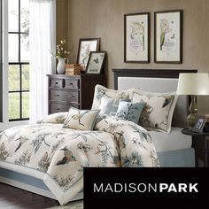 Trying to do something a little different. I think this is very pretty...@Overstock.com - Madison Park Pierce 7-piece Matelasse Comforter Set - This casual comforter uses warm tones of brown and blue to create a fun leaf and bird print. With blue piping along the border to create a finished look, the comforter also features a solid blue color on the reverse.  http://www.overstock.com/Bedding-Bath/Madison-Park-Pierce-7-piece-Matelasse-Comforter-Set/8899890/product.html?CID=214117 $107.99