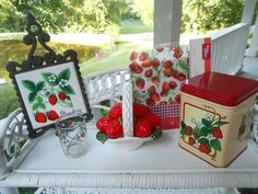 Strawberry Decor / Strawberry Kitchen Decor / Red by MissMarigolds Strawberry sold right after I took this photo so its not part of this collection.