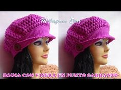 Boina a crochet con visera punto garbanzo para diferentes edades paso a paso. Crochet beret with chickpea point visor for different ages step by step. Slip Stitch Crochet, Crochet Beret, Tunisian Crochet, Irish Crochet, Crochet Lace, Crochet Basket Pattern, Crochet Patterns, Crochet Ideas, Sombrero A Crochet