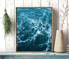 Ocean art print Wall art ocean waves Abstract by LeelaPrintableArt