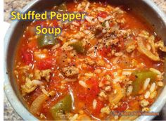 I used all beef stock and added 2 cups of cooked rice at end.  Also used 1 green, 1 yellow and 1 red bell pepper.  Yummy!