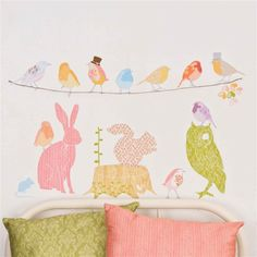Love Mae Nursery Wall Stickers - 'Forest Critters' Animals and Birds - Girly