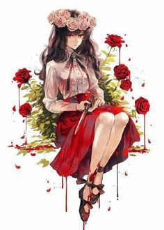 Girl of red roses