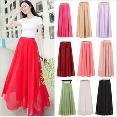 Beautiful Candy Colored Chiffon Long Skirts