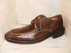 BACHRACH MENS BROWN APRON TOE WHITE STITCHING DRESS OXFORD SHOES SZ11.5 M ITALY #Bachrach #Oxfords #Formal