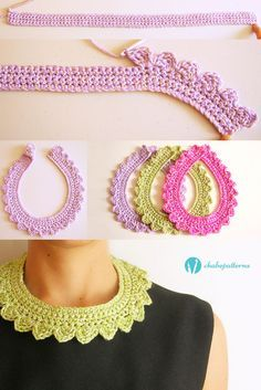 Crochet collar, free pattern, photo tutorial, written instructions/ Collar tejido, patrón gratis, foto tutorial, instrucciones escritas