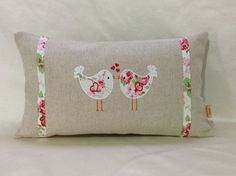 Decorative Lumbar Pillow ,White pillow cover, with Cath Kidston Lovebirds…