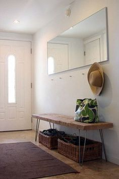 Minimalist entryway and DIY hairpin leg reclaimed wood bench Steal This Look: DIY Entryway with Hairpin Leg Bench : Remodelista Apartment Entryway, Entryway Decor, Entryway Bench, Entryway Mirror, Hallway Storage, Modern Entryway, Entry Hallway, Hallway Ideas, Apartment Furniture