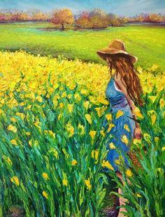 Golden Afternoon by Kimberly Adams - Malerei Watercolor Landscape, Landscape Art, Landscape Paintings, Watercolor Paintings, Acrylic Art, Acrylic Painting Canvas, Canvas Art, Wow Art, Mellow Yellow