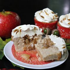 Salted Caramel Apple Pie Cupcakes -- with apple pie filling