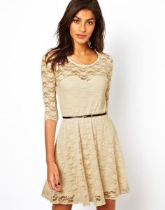 ASOS Skater Dress in Lace With 3/4 Length Sleeves - Mink /