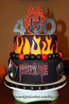 Heavy Metal - Mötley Crüe Birthday Cake - Rock on! 40th Birthday Cakes, 40th Birthday Parties, Unique Cakes, Creative Cakes, Beautiful Cakes, Amazing Cakes, Fire Fighter Cake, Music Cakes, Fantasy Cake