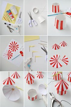 DIY Circus Party Hats discovered by mg on We Heart It Vintage Circus Party, Circus Carnival Party, Circus Theme Party, Carnival Birthday Parties, Circus Birthday, First Birthday Parties, Birthday Party Themes, Diy Carnival, Circus Wedding