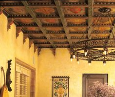 Decorated beams and panels crown a Southwestern Mission Revival dining room. Home Ceiling, Ceiling Decor, Ceiling Beams, Coffered Ceilings, Tudor Style Homes, Craftsman Style Homes, Ceiling Painting, Classic Ceiling, Arts And Crafts House