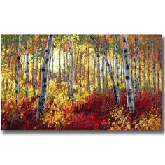 """Sunlit Autumn  thick acrylic on canvas 36"""" x 60"""" Click Here to email Jennifer Vranes"""