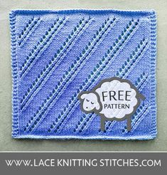 Lace Knitting 24 - Lace Knitting Stitches Lace Knitting Stitches, Dishcloth Knitting Patterns, Lace Design, Squares, Stitch Patterns, Free Pattern, Chart, Projects, Diy