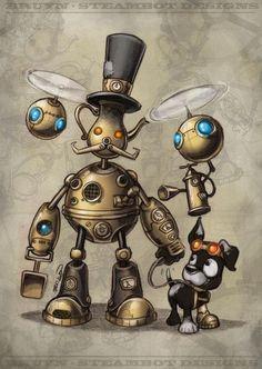 #Steampunk Tendancies | Craig Bruyn  #Digitalart #Robot #Pet