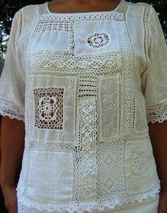 Crochet lace and cotton blouse Form Crochet, Crochet Lace, Sewing Clothes, Crochet Clothes, Sewing Patterns, Crochet Patterns, Linens And Lace, Crochet Blouse, Irish Lace