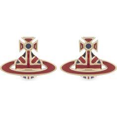 VIVIENNE WESTWOOD JEWELLERY Jack enamel Orb stud earrings (3.990 RUB) ❤ liked on Polyvore featuring jewelry, earrings, vivienne westwood jewelry, earring jewelry, enamel jewelry, stud earrings and butterfly jewelry