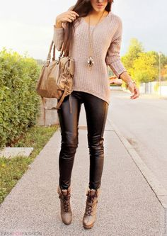 Sweater with leather leggings. I love leggings. I need to stock up on some.