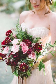 burgundy wedding bouquet - photo by Anna Delores Photography http://ruffledblog.com/garden-wedding-inspiration-with-antique-details #weddingbouquet #flowers #bouquets
