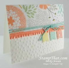 Stampin' Up! 2014 SAB Banner Blast, banner punch, Decorative Dots embossing folder, Sweet Sorbet dsp; by Becky J