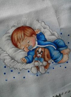 T T sleeping baby puppy colour Baby Clip Art, Baby Art, Baby Painting, Fabric Painting, Baby Embroidery, Embroidery Stitches, Baby Drawing, Cute Clipart, Baby Christening