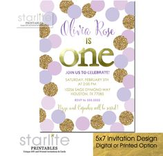 1st Birthday Invitation Girl, Lilac, Lavender and Gold Polka Dots featuring simulated Gold Glitter and Gold Foil - ANY Birthday age