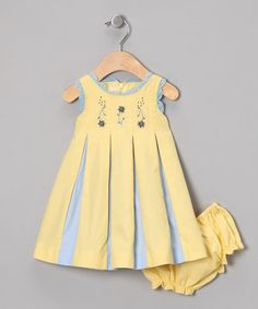 Periwinkle Yellow & Blue Wholly Pleated Dress & Diaper Cover - Infant | zulily
