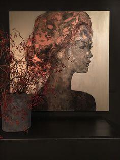 QUE JE T'AIME # figurative art # abstract#portrait # copper #liquid