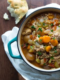 With the weather's getting cooler, it seems right about time to break out the crock pot to make this delicious chicken stew. :)
